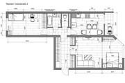 Разработка 3 вариантов планировки квартиры 50 - kwork.ru