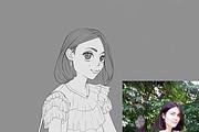 Иллюстрационный портрет по фотографии в стилях Манга или Аниме 30 - kwork.ru
