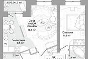 Планировка двухкомнатной квартиры за 24 часа 18 - kwork.ru