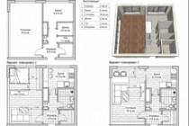 Разработка 3 вариантов планировки квартиры 52 - kwork.ru