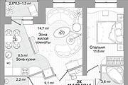 Планировка двухкомнатной квартиры за 24 часа 13 - kwork.ru