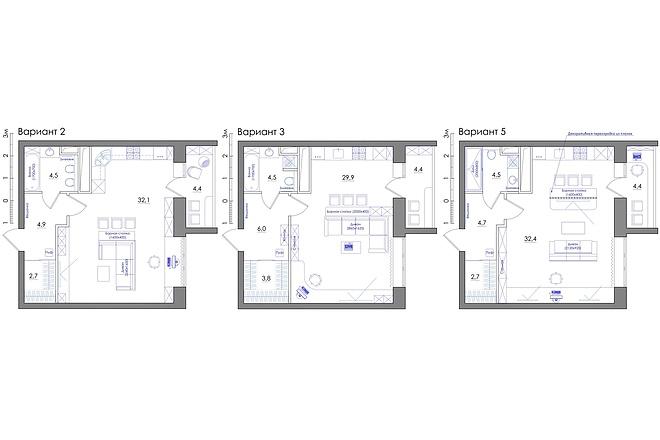 Планировка квартиры или жилого дома, перепланировка и визуализация 47 - kwork.ru