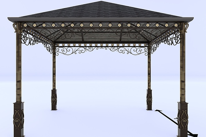 Сделаю 3d модель кованных лестниц, оград, перил, решеток, навесов 15 - kwork.ru