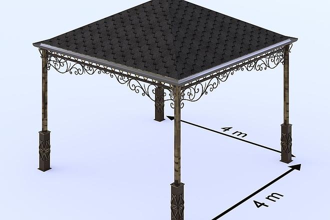 Сделаю 3d модель кованных лестниц, оград, перил, решеток, навесов 14 - kwork.ru