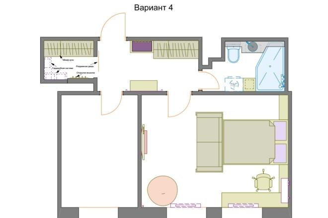 Планировочные решения. Планировка с мебелью и перепланировка 71 - kwork.ru