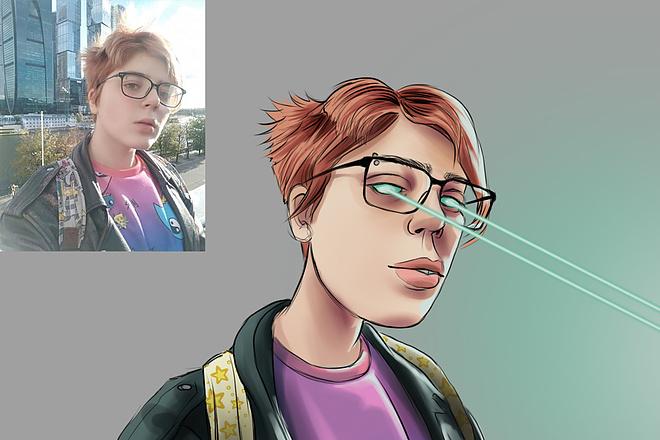Иллюстрационный портрет по фотографии в стилях Манга или Аниме 15 - kwork.ru