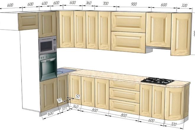 Проект корпусной мебели, кухни. Визуализация мебели 53 - kwork.ru