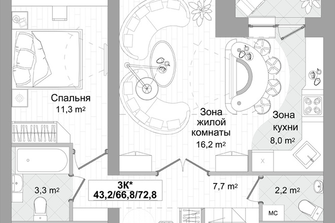 Планировка двухкомнатной квартиры за 24 часа 6 - kwork.ru