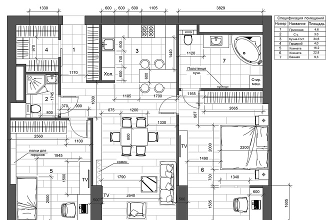 Разработка 3 вариантов планировки квартиры 5 - kwork.ru