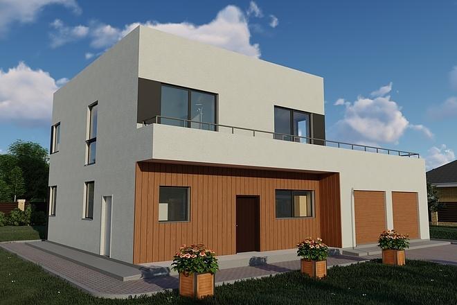 Фотореалистичная 3D визуализация экстерьера Вашего дома 148 - kwork.ru