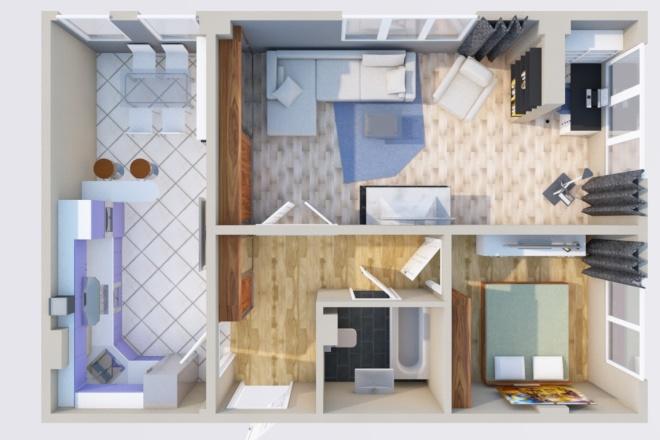 Создам планировку дома, квартиры с мебелью 14 - kwork.ru
