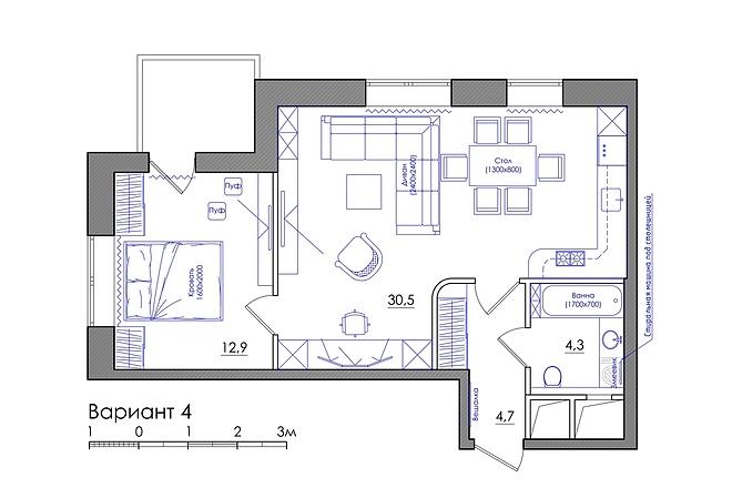 Планировка квартиры или жилого дома, перепланировка и визуализация 16 - kwork.ru