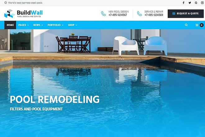 BuildWall - Шаблон сайта строительной компании на WordPress 6 - kwork.ru