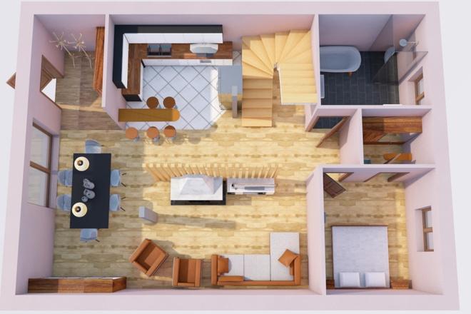 Создам планировку дома, квартиры с мебелью 47 - kwork.ru