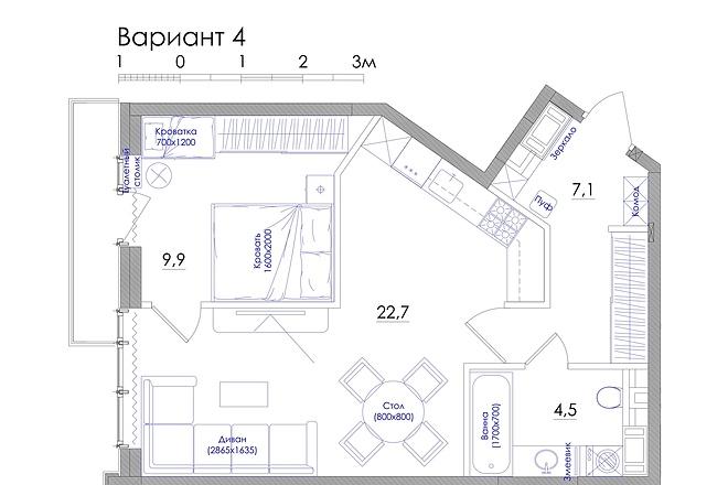 Планировка квартиры или жилого дома, перепланировка и визуализация 22 - kwork.ru