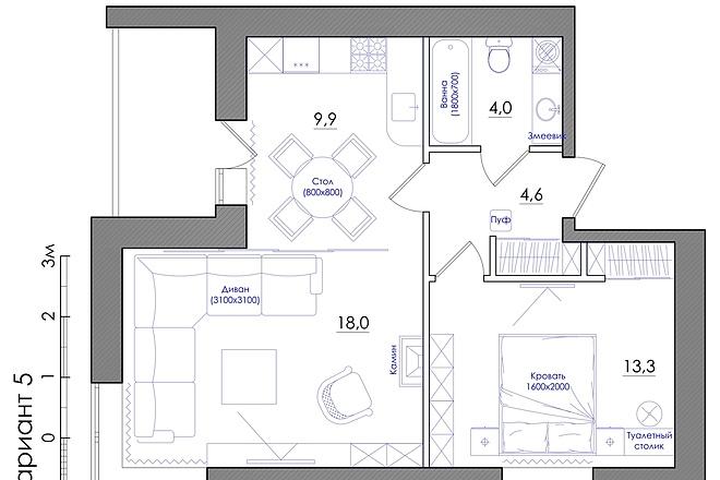 Планировка квартиры или жилого дома, перепланировка и визуализация 14 - kwork.ru