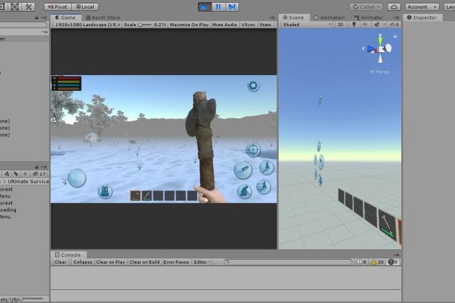 Исходник популярной игры Forest Survival Winter Craft. unity package 1 - kwork.ru