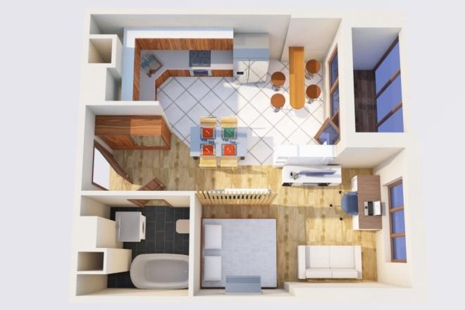 Создам планировку дома, квартиры с мебелью 33 - kwork.ru