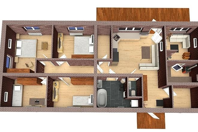 Создам планировку дома, квартиры с мебелью 48 - kwork.ru