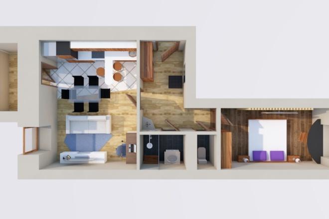 Создам планировку дома, квартиры с мебелью 24 - kwork.ru