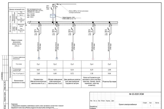 Выполню однолинейную схему электроснабжения 7 - kwork.ru