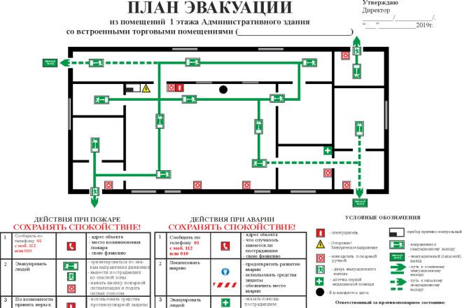 Начерчу план эвакуации, план помещения 2 - kwork.ru