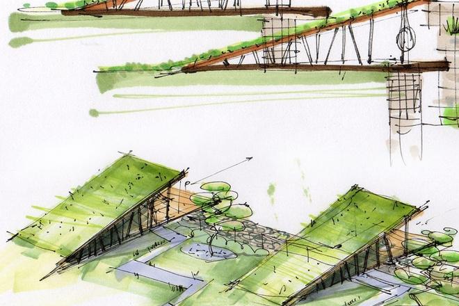 Выполню концепцию ландшафта загородного участка в стиле архскетчинга 1 - kwork.ru