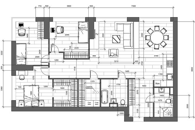 Разработка 3 вариантов планировки квартиры 12 - kwork.ru
