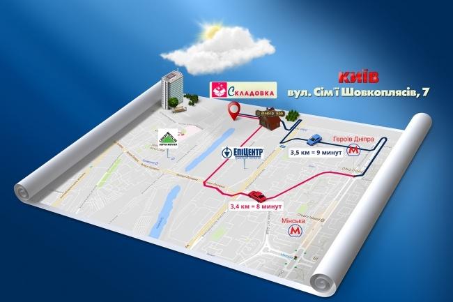 Красивая схема и карта проезда 15 - kwork.ru