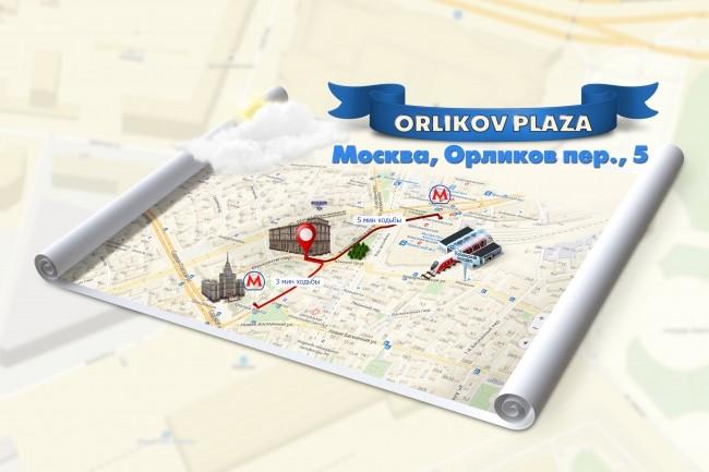 Красивая схема и карта проезда 10 - kwork.ru