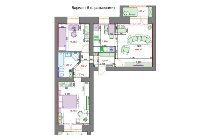Планировочные решения. Планировка с мебелью и перепланировка 35 - kwork.ru