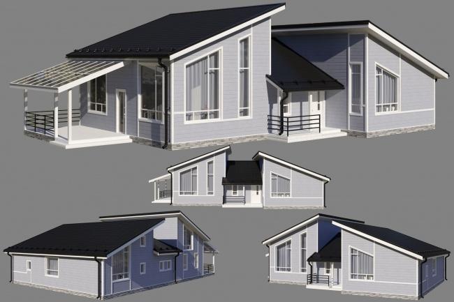 3d. Архитектурная визуализация. Дома. Экстерьер 2 - kwork.ru