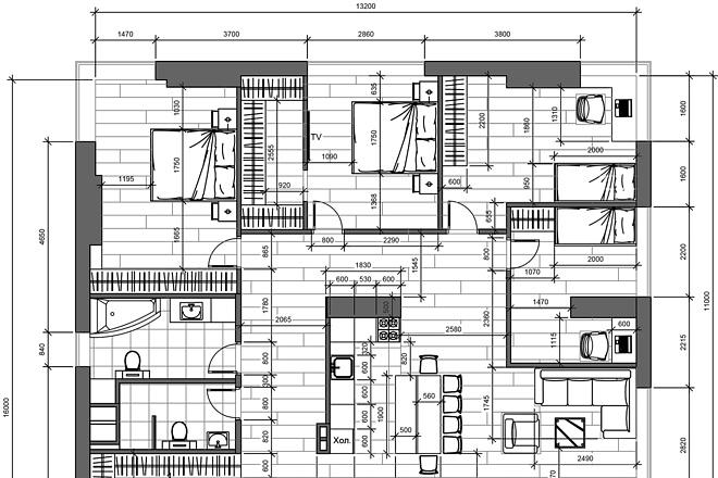 Разработка 3 вариантов планировки квартиры 16 - kwork.ru