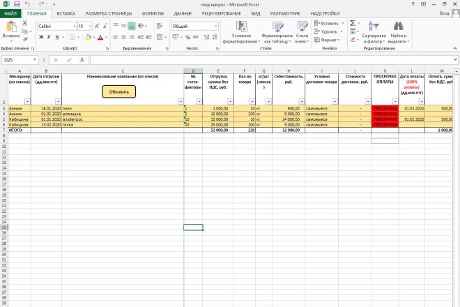 Напишу макрос на VBA для Excel 17 - kwork.ru