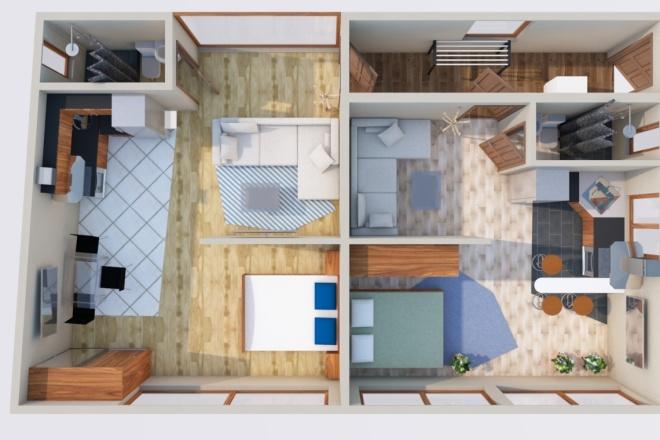Создам планировку дома, квартиры с мебелью 20 - kwork.ru