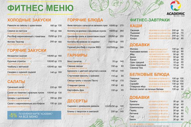 Дизайн меню для кафе, ресторанов, баров и салонов красоты 3 - kwork.ru