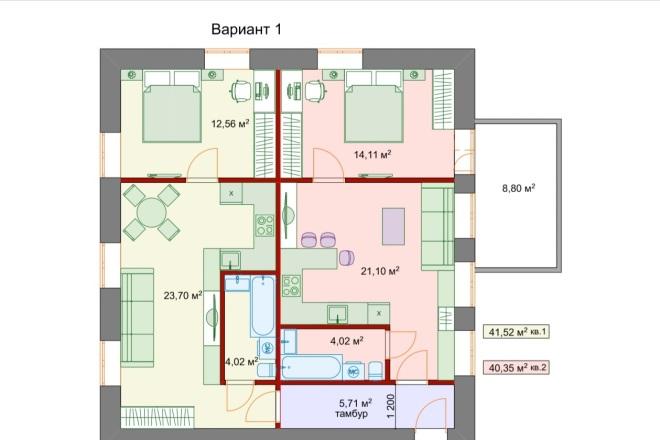 Планировочные решения. Планировка с мебелью и перепланировка 11 - kwork.ru