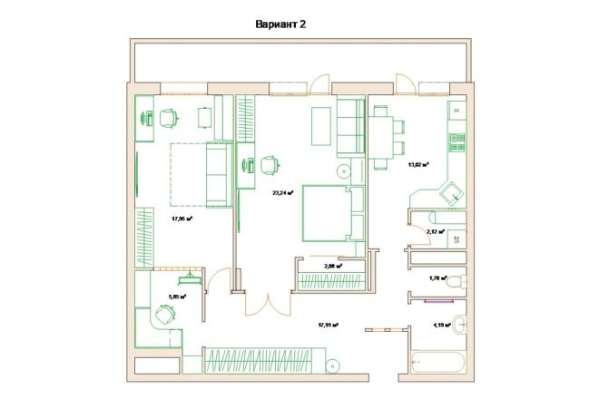 Планировочные решения. Планировка с мебелью и перепланировка 96 - kwork.ru