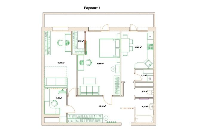 Планировочные решения. Планировка с мебелью и перепланировка 85 - kwork.ru