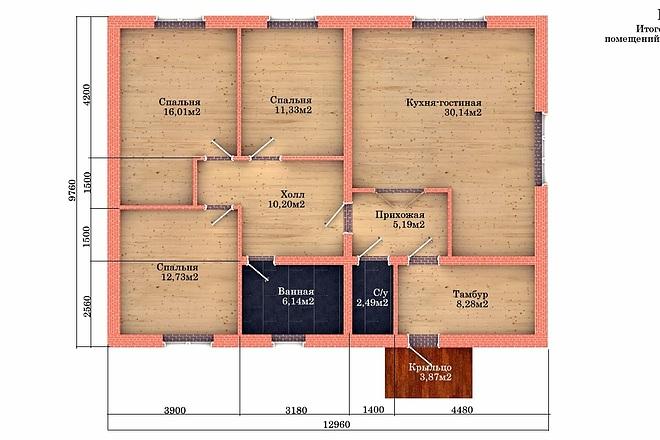 Создам планировку дома, квартиры с мебелью 52 - kwork.ru