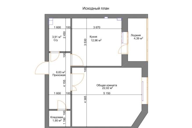 Планировочные решения. Планировка с мебелью и перепланировка 27 - kwork.ru