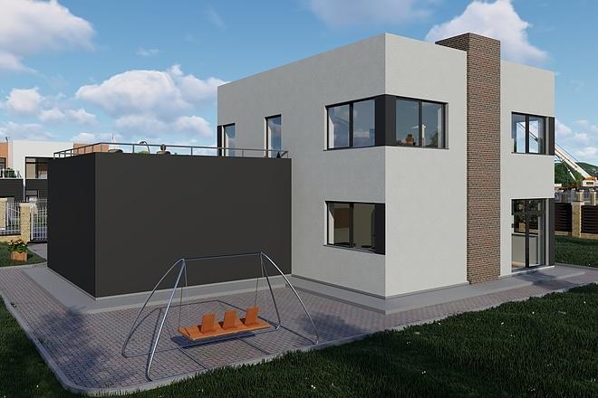 Фотореалистичная 3D визуализация экстерьера Вашего дома 146 - kwork.ru