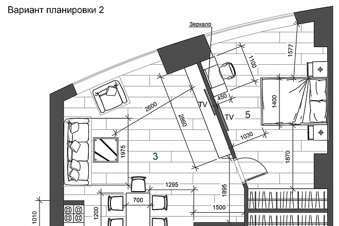 Разработка 3 вариантов планировки квартиры 8 - kwork.ru