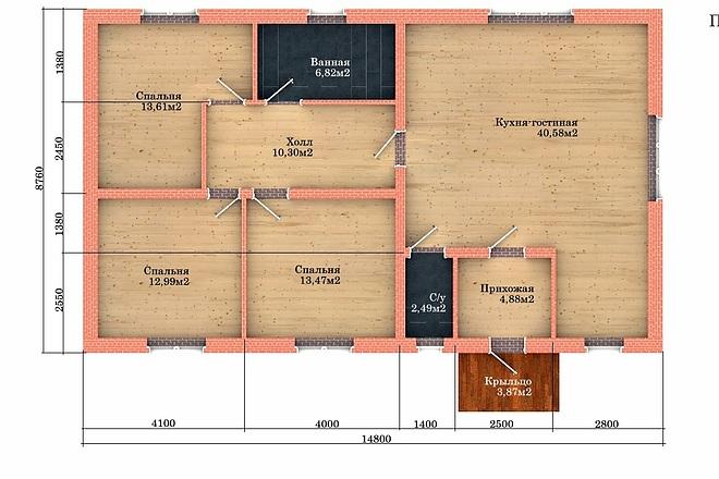 Создам планировку дома, квартиры с мебелью 51 - kwork.ru