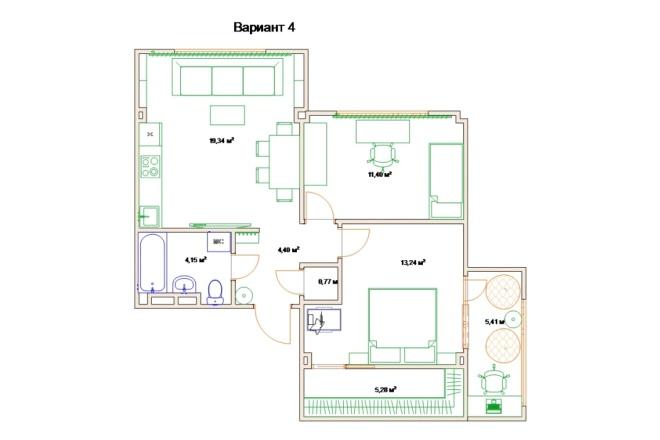 Планировочные решения. Планировка с мебелью и перепланировка 105 - kwork.ru