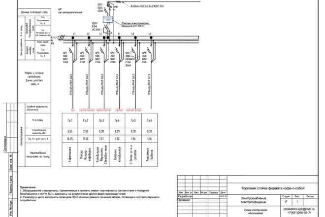 Выполню однолинейную схему электроснабжения 18 - kwork.ru
