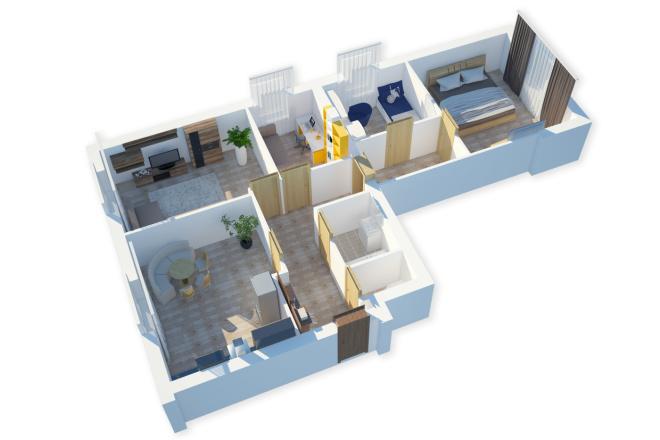 Сделаю 3д визуализацию плана для дома, квартиры 2 - kwork.ru