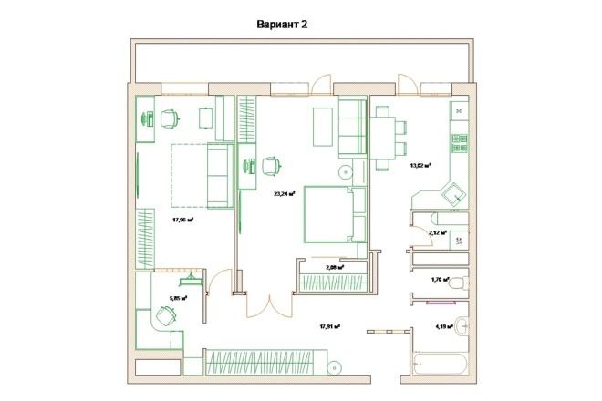 Планировочные решения. Планировка с мебелью и перепланировка 84 - kwork.ru