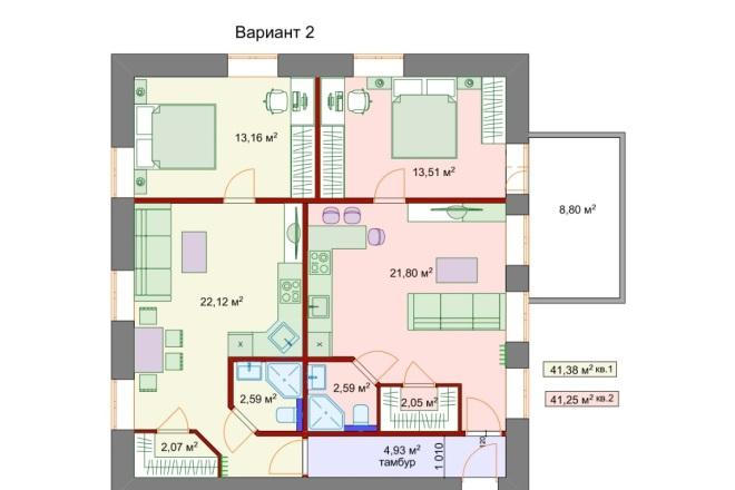 Планировочные решения. Планировка с мебелью и перепланировка 10 - kwork.ru