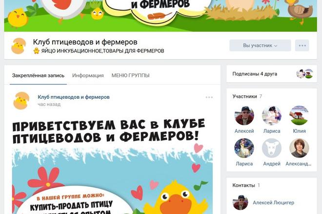 Оформлю группу ВК - обложка, баннер, аватар, установка 74 - kwork.ru